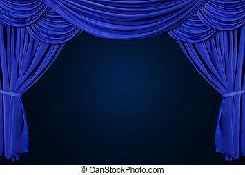aksamit, teatr, elegancki, stary kształtowany, curtains., rusztowanie