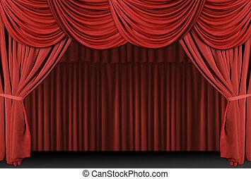 aksamit, teatr, elegancki, stary kształtowany, curtains., ...