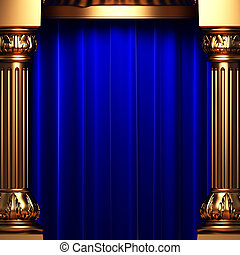 aksamit, za, błękitny, złoty, firanki, kolumny