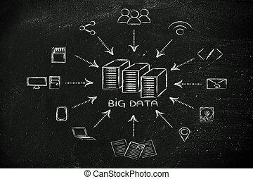 akta, dane, dzielenie, transfes, cielna, ilustracja, rząd