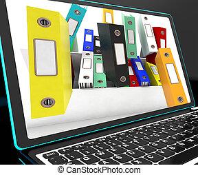 akta, niezorganizowany, pokaz, laptop, spadanie