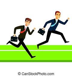 aktatáska, ügy emberek, két, verseny, futás, vektor, ábra, businessmen