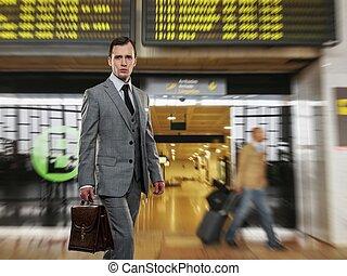 aktatáska, klasszikus, szürke, repülőtér, illeszt, ember
