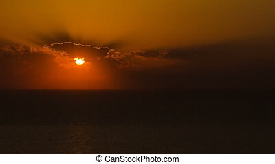 Aktau city on the shore of the Caspian Sea at sunset timelapse. Kazakhstan.