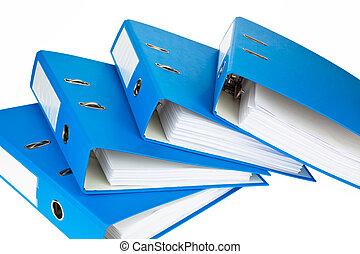 aktenordner, mit, dokumente, und, dokumente