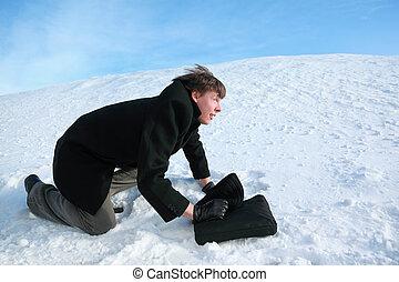 aktentas, alles, sneeuw man, vier, creeps, jonge