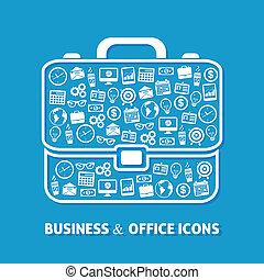 aktentas, de pictogrammen van het bureau