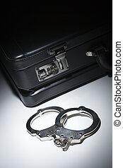 aktentas, licht, handcuffs, vlek, onder, paar