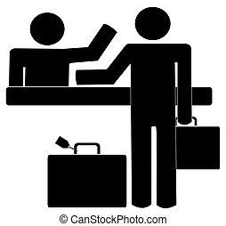 aktentas, zakelijk, krijgen, toonbank, helpen, man, bagage