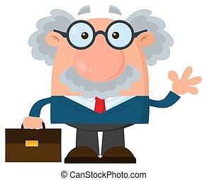 aktentasche, professor, zeichen, oder, winkende , wissenschaftler, karikatur