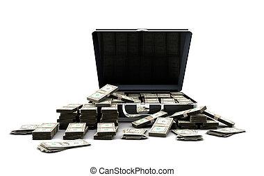 aktentasche, voll, von, geld