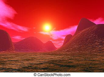 aktie illustration, av, martian, solnedgång