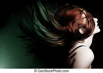 aktion fotograferade, av, en, attraktiv, modell, svängande,...