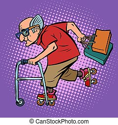 aktivál, öregember, bevásárlás, sport