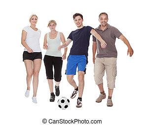 aktivál, család, játék futball