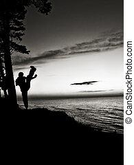 aktivál, ember, képzés, harcművészetek, közel, a, tengerpart