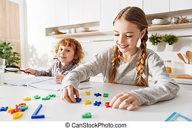 aktivál, fényes, konyha, játék, gyerekek