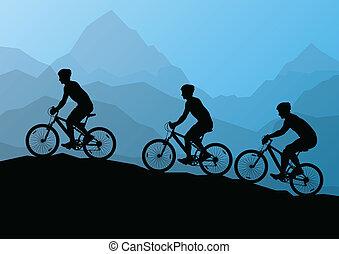 aktivál, férfiak, kerékpárosok, bicikli, lovasok, alatt, vad, hegy, természet parkosít, háttér, ábra, vektor