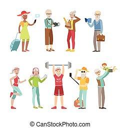 aktivál, friss, öreg emberek
