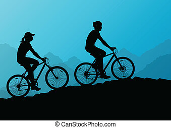 aktivál, kerékpárosok, bicikli, lovasok, alatt, vad, hegy, természet parkosít, háttér, ábra, vektor, helyett, poszter