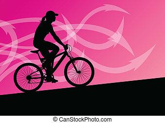 aktivál, nő, biciklista, bicikli rider, alatt, elvont, nyíl, egyenes, táj, háttér, ábra, vektor, helyett, poszter