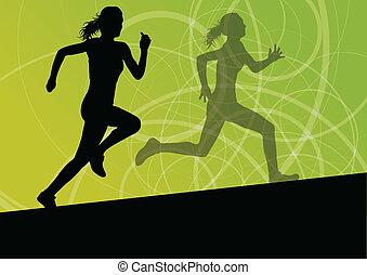 aktivál, nők, sport, atlétika, futás, körvonal, ábra,...