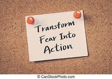 aktiv, fürchten, umformen, dein