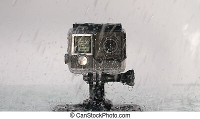 aktiv, fotoapperat, unter, regen