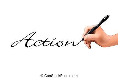 aktiv, geschrieben, 3d, wort, hand