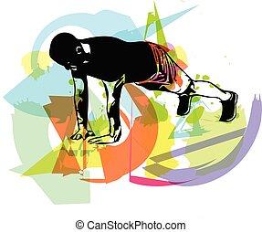 aktiv, gymnastiksal, mand, armbøjningerne, unge