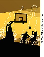 aktiv, handikappad, män, ung, basketbal