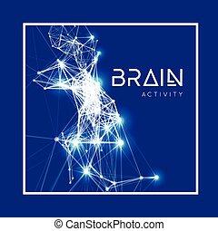 aktiv, hjärna, begrepp, mänsklig