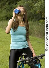 aktiv, kvinna, törstig