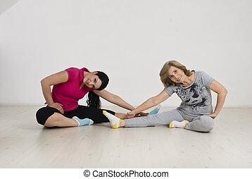 aktiv, kvinnor, två, gymnastisk