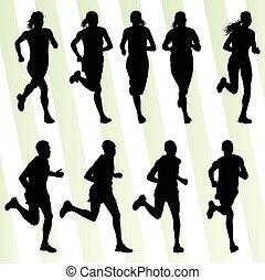 aktiv, løber, atletik, mænd, sport