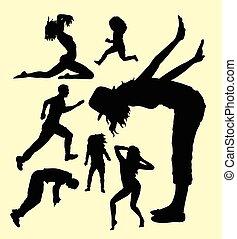 aktiv, mann frau, gebärde, silhouette