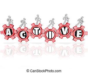 aktiv, ord, utrustar, folk, exercerande, fysikalisk...