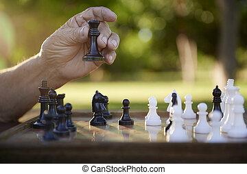 aktiv, pensionerada folk, äldre bemanna, spelande schacker, hos, parkera