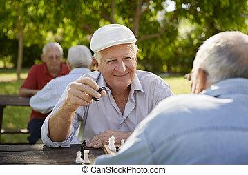 aktiv, pensionerat, seniors, två, gammal, män, spelande schacker, hos, parkera