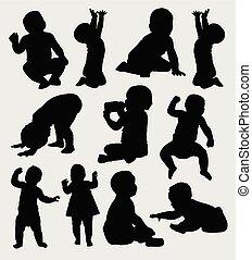 aktiv, silhouette, babys