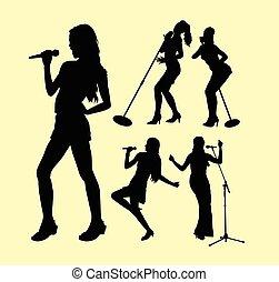 aktiv, singende, silhouette, weibliche