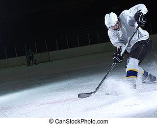 aktiv, spieler, hockey, eis