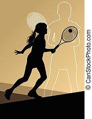 aktiv, spillere, tennis, sport