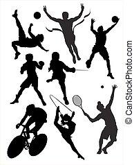 aktiv, sports., vektor, gepackt, abbildung
