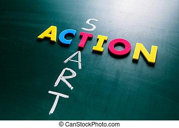 aktiv, start, begriff, tafel