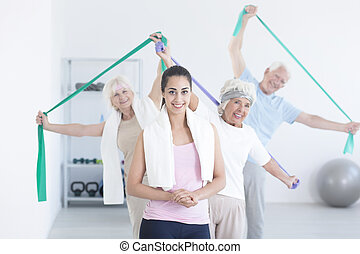 aktiv, sträckande, äldre folk