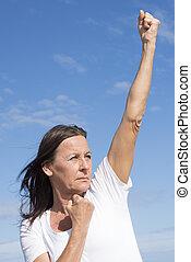 aktiv, tillitsfull, kvinna, mäktig, pensionerat