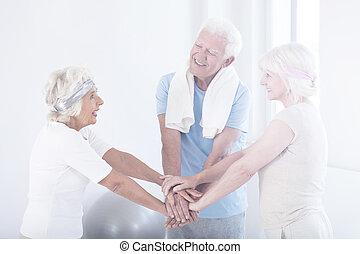 aktiv, vänner, äldre, lycklig