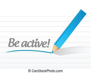 aktiv, vara, skriftligt, vit, meddelande