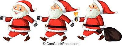 aktiv, verschieden, satz, claus, santa